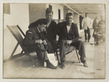 Wounded on deck of hospital ship